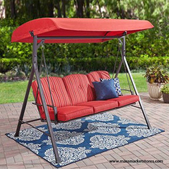 Outdoor Swing Chair With Canopy 3 Seat Steel Frame Bench Garden Porch Patio Yard Swingchair Swing Chair Outdoor Gray Patio Furniture Outdoor Seating