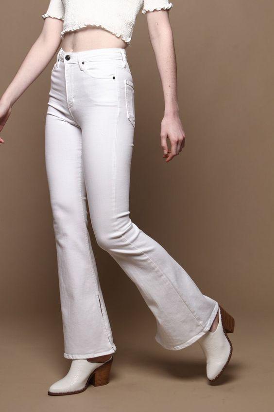 Highwaist Side Slit Flare Leg Jeans - White
