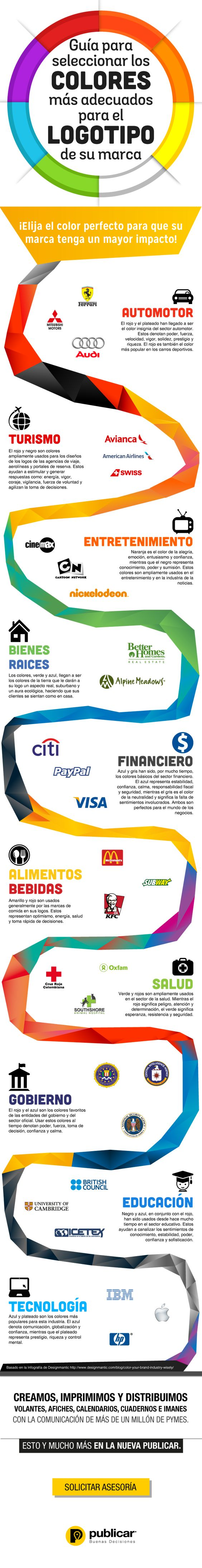 Guía para elegir el mejor color para el logotipo de tu marca #infografia #design #marketing