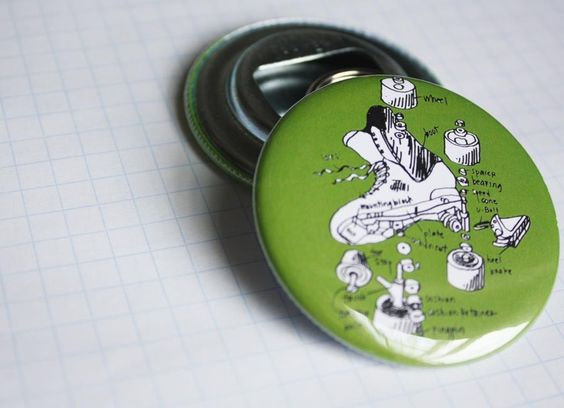 roller derby keychain bottle opener