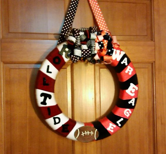 My house divided wreath.  WAR EAGLE :)... and roll tide... :(
