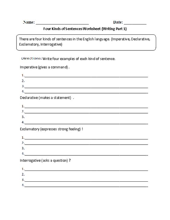 Worksheet Four Kinds Of Sentences Worksheet kind of sentences and writing on pinterest with four kinds worksheet