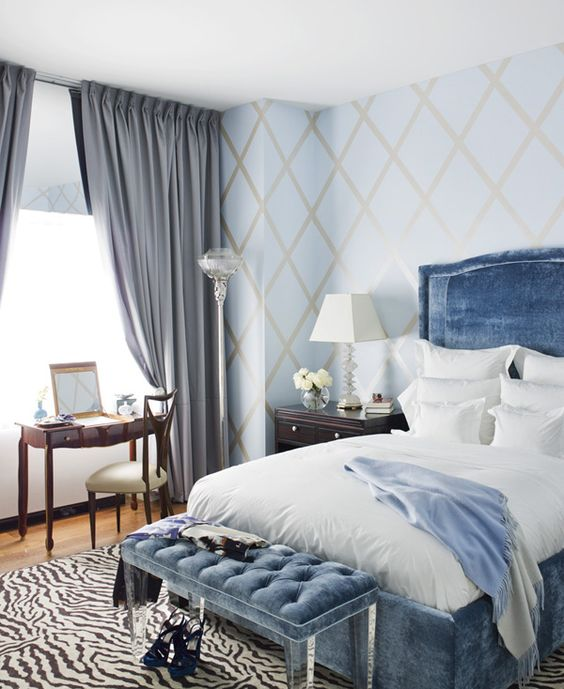 blue bedroom | Richard Mishaan Design: