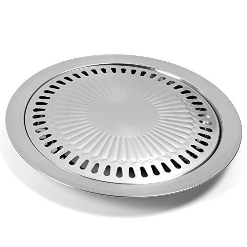 Yoedaf Bbq Grill Tray Pan Korean Style Stainless Steel Cooking Smokeless Non Stick Griddle Plate Outdoor Roasting Camping Grilli Bbq Plates Gas Grill Grill Pan