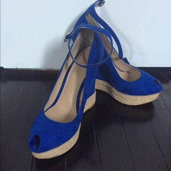Zara wedge heel size 38 Royal blue suede wedge heel Zara Shoes Wedges