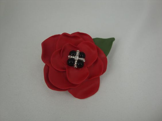 Poppy brooch polymer clay by annagiles on Etsy,
