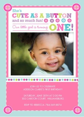 Cute as a Button 1st Birthday Invitation Birthday Party Invitations Card By Inkberry Cards   Snapfish