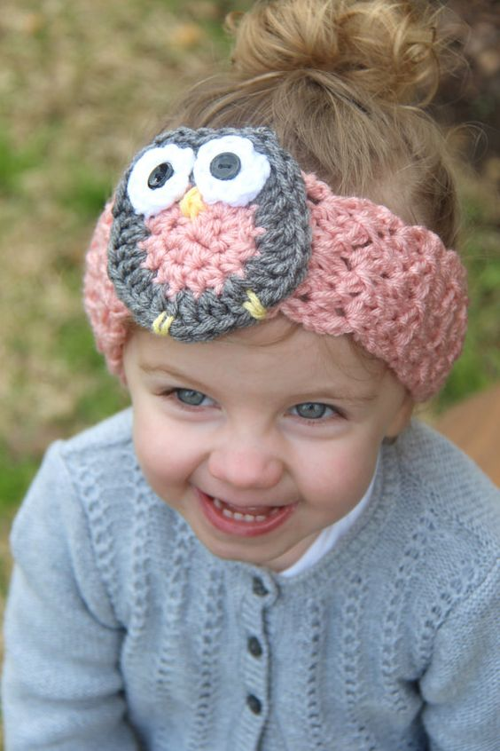 Baby Girl Espadrilles Crochet Pattern : Amazing Baby Owl Headband / Ear Warmer https://www.etsy ...