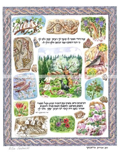 Judaica-Art-Song-of-Songs-My-beloved-spoke-high-quality-print-size-8-5x10-5