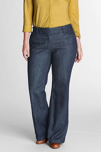 For back to work-Women's Plus Size Exhale™ Tummy Control Stretch Denim Bootcut Leg Pants from Lands' End: