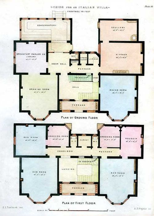Italian Villa Floorplans Architectural Engraving C1850 Italian Villa Villa Plan How To Plan
