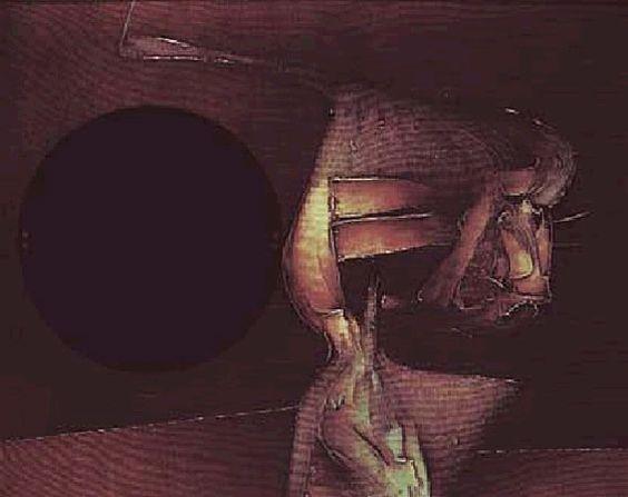 """:: VICTOR CHAB :: Un maestro de la luz -""""Sin título"""" - 1971 - collage y óleo sobre tela - 81 x 100 cm"""