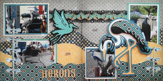 Scrapbook Page - Point Roberts, Wa.- 2 page road trip layout with herons - from Everyday Life Album 31