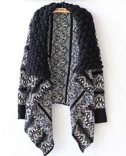 Black Folk Style Collar Cardigan Sweater | fashionstyle - Clothing on ArtFire