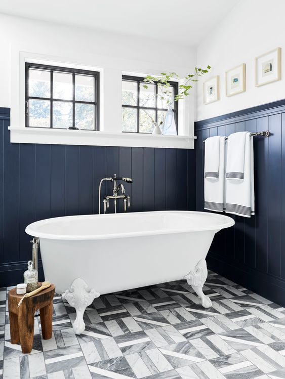 12 Bold Blue And Green Paint Colors We Ve Tested Approved So You Don T Have To Emily Henderson Beadboard Bathroom Bathroom Floor Tiles Pretty Bathrooms
