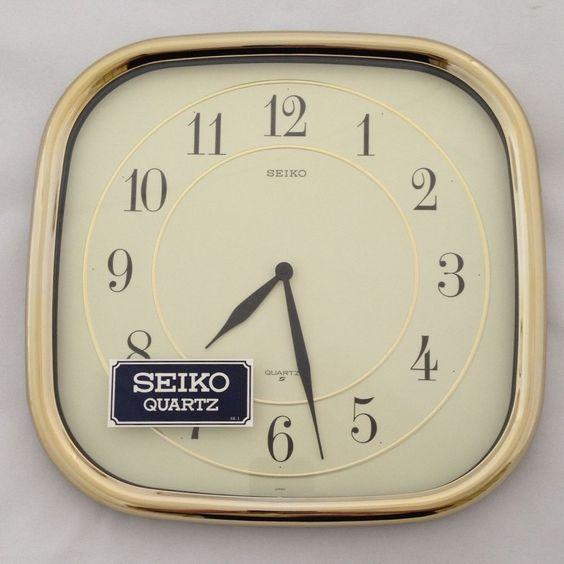 Vintage seiko quartz wall clock modern retro gold tone nib for Seiko quartz wall clock