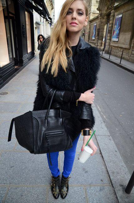 celini luggage - Chiara Ferragni with her Celine croc phantom bag, cobalt blue ...