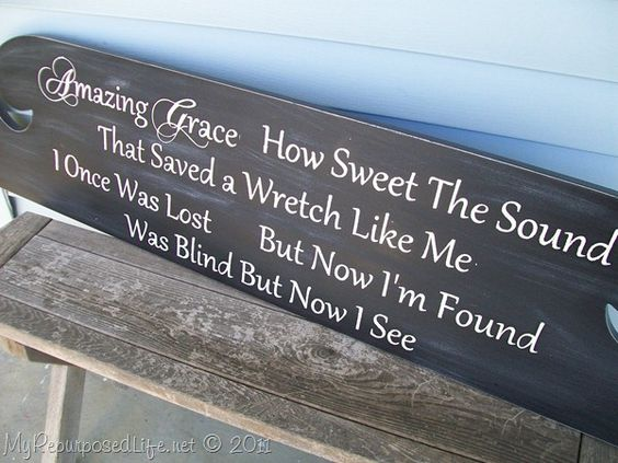 "Headboard repurposed into a sign ""Amazing Grace"""