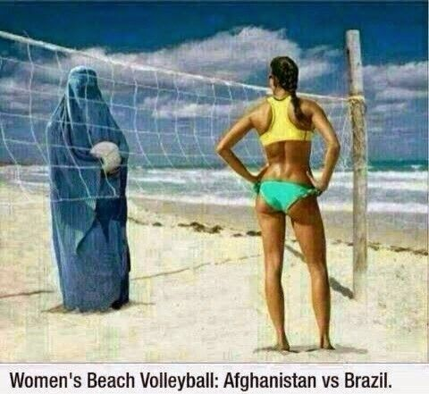 Muslim women at the beach in burkas criticising