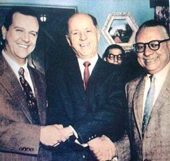PACTO DE PUNTO FIJO (Venezuela. octubre de 1958). Rafael Caldera, Jóvito Villalba y Rómulo Betancourt.: