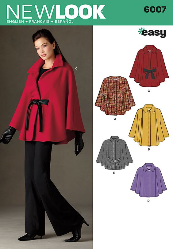 6007 Misses' Capes Misses' Capes in two lengths with collar variations and belt. New Look Easy pattern.: