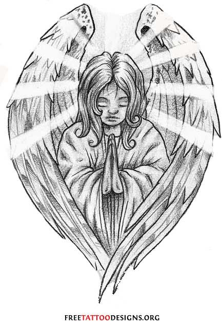 Praying Angel Tattoos | Angel Tattoos | Angel Wings, Guardian Angel and St Michael Designs