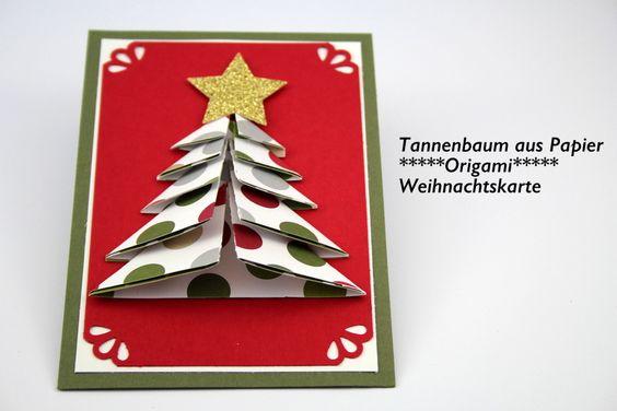 Tannenbaum aus Papier_Origami_Weihnachtskarte_Stampin' Up!