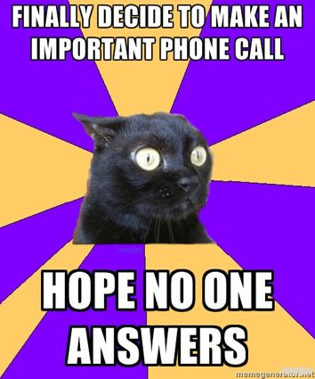 Anxiety Cat. This is how I feel EVERY TIME I have to call someone for work...which is a lot.