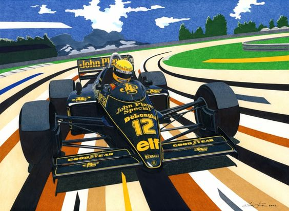 Ayrton Senna is driving the formidable 1200HP Lotus 98T, at the Jacarepagua circuit near Rio de Janeiro