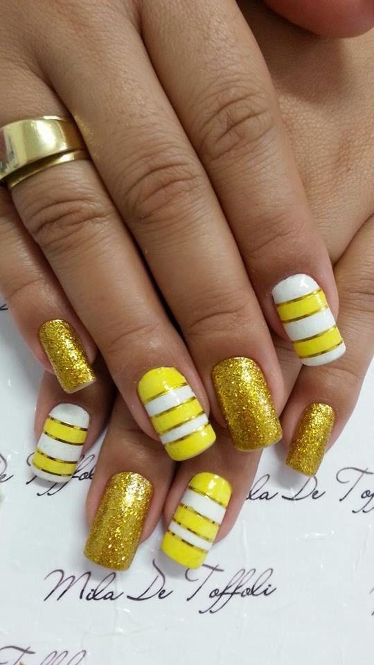 Yellow Nail Art Designs For 2016 - Funky Yellow Nail Design. Yellow Nail Art. Cute Yellow Nail