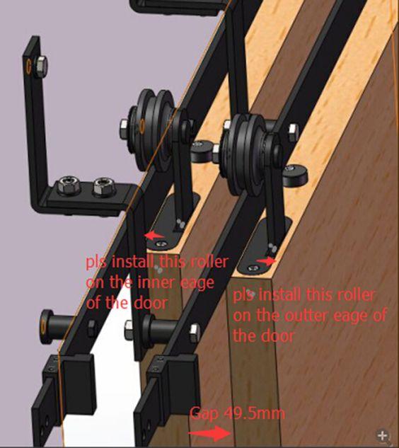 6 6 6ft bypass correderas herrajes para puerta de madera - Herrajes rusticos para puertas ...