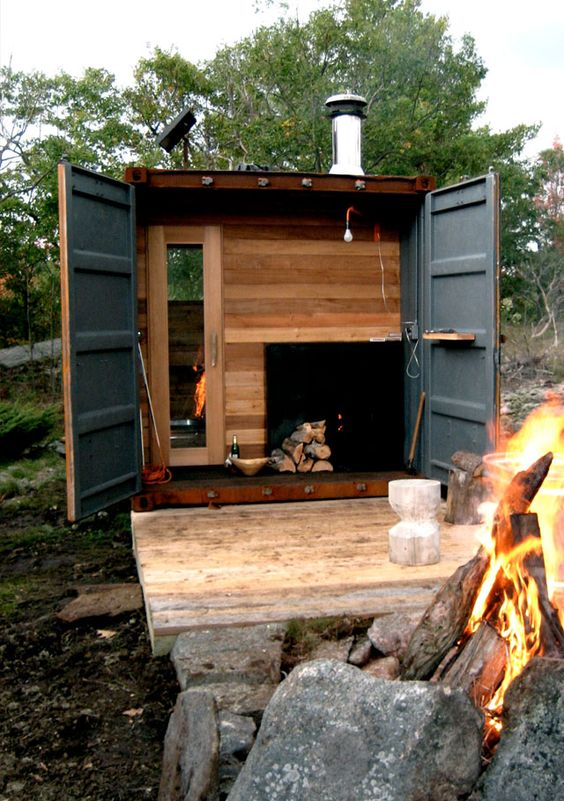 Saunas shipping containers and boxes on pinterest for Wood burning sauna stove plans