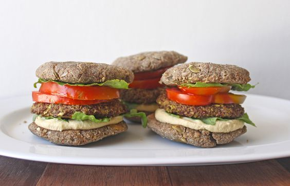 Zucchini, Pea and Quinoa Burgers in Homemade Almond and Pumpkin Seed Buns
