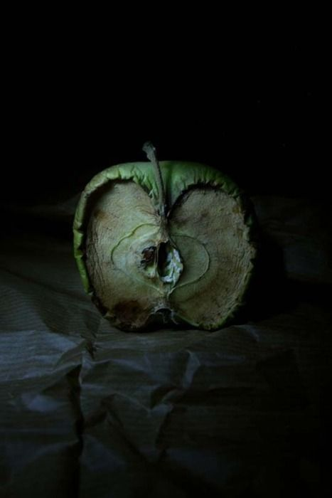 This is a photographic image, showing what happens when Apples decay. The use of dark background, dark lighting and dark surface that contrasts with the green decaying apple emphasises a sort of death theme in this image. As decay symbolises death.