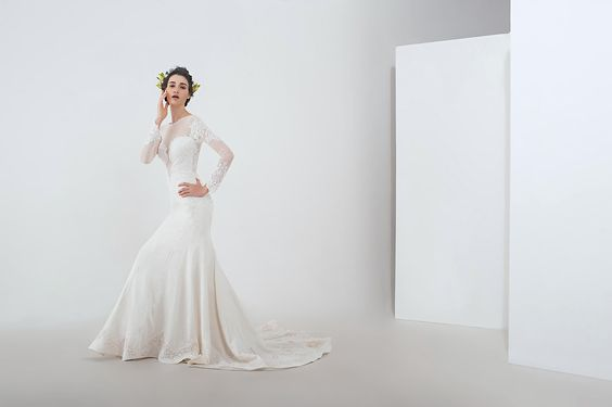 """Anny Lin Bridal """"Shirine"""" sexy plunged bodice with sheer low back and embellished with crystal beadwork. :"""