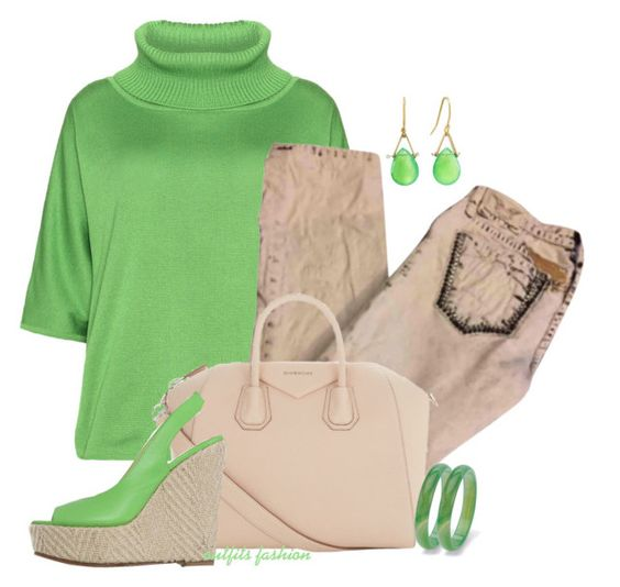 Green & Beige by outfitsfashion4 on Polyvore featuring moda, Isolde Roth, Robin's Jean, Givenchy, Lulu Designs and Palm Beach Jewelry