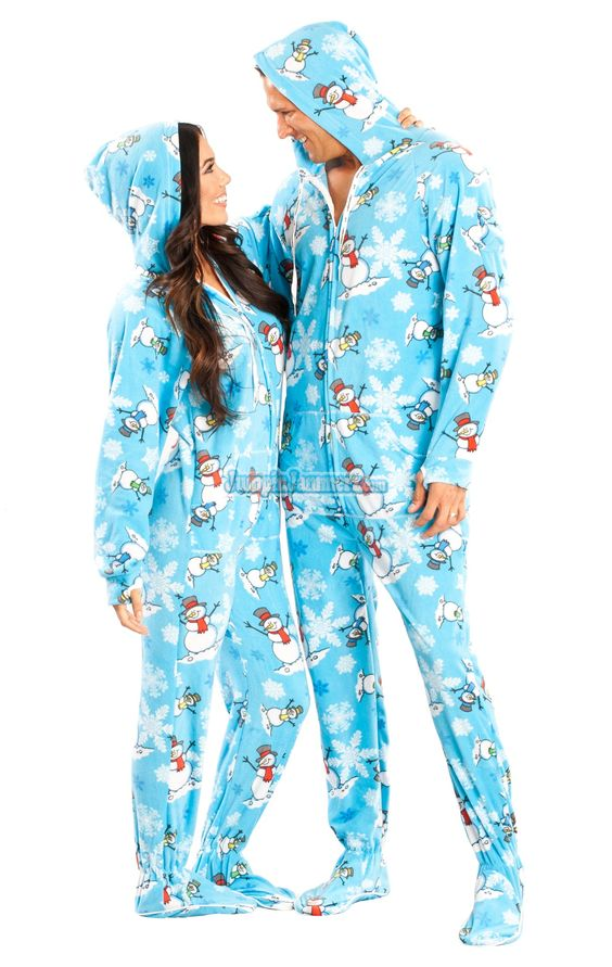 Blue Snowman Hooded Footed Pajamas. You will not be cold once you get these feetie pjs on you.  Snowmen will make you feel cozy with the soft polar fleece.   Get yours before the snow melts. These one piece pjs will not last long.    $49.99:
