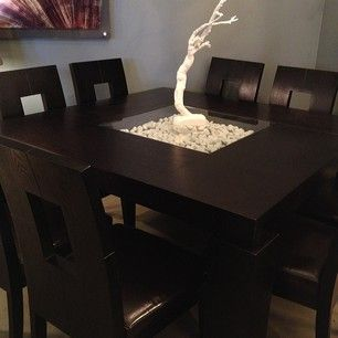 Espresso Square Modern Dining Table with 8 chairs. Stop in to see it! -