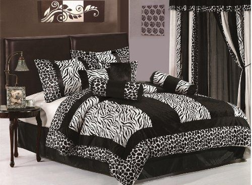 Chezmoi Collection 8-Piece Black and White Micro Fur Zebra with Giraffe Design Comforter 86-Inch by 88-Inch Bed-in-a-bag Set, Full or Double Size Bedding by Chezmoi Collection. $55.28. Care instruction: machine wash gentle cycle with cold water. (sun dry or low tumble dry). 1 comforter 86-inch by 88-inch.1 bed skirt 54-inch by 75-inch by 14-inchdrop.2 sham 20-inch by 26-inch+2-inch.. 8 pc bedding ensembles. (comforter, sham, 4 cushion, and bed skirt). 2 neck roll (8-inch by...