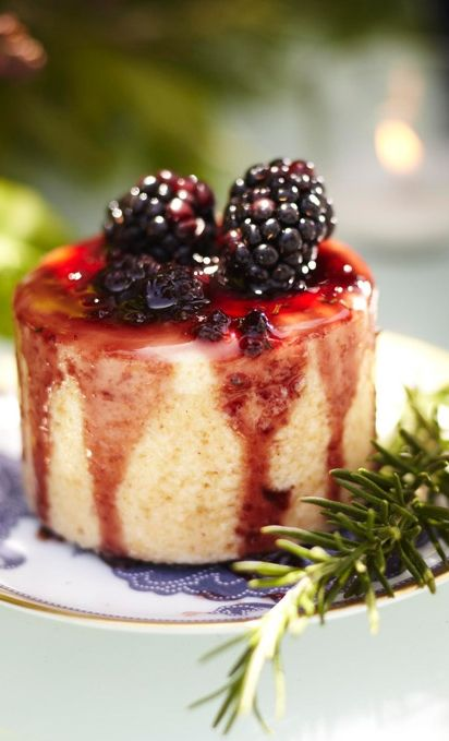 Ricotta Cheesecake with Blackberry Balsamic Rosemary Sauce is simply divine!
