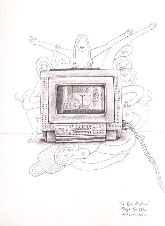 """La Gran Antena"". Grafito sobre papel. México 2011. Herza Du Valca."