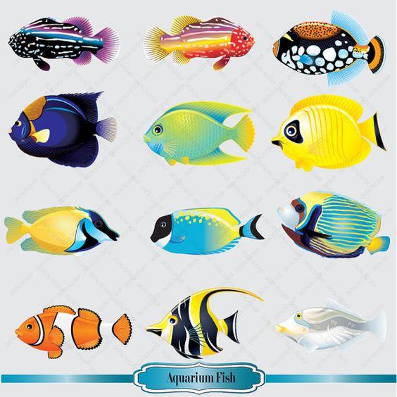 Aquarium fish clipart set salt water fish clip by for Saltwater fishing video