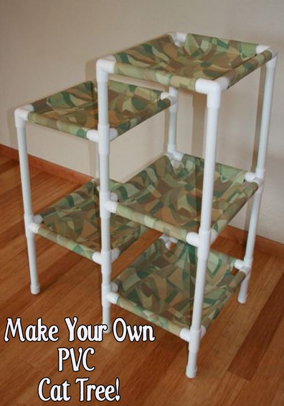Homemade shelters and animal shelter on pinterest for Diy cat tree pvc pipe
