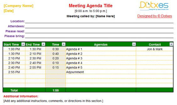 Pinterest - formal agenda template