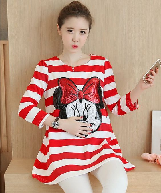 2016 Autumn Pregnant Woman'S Cute Cartoon Stripe Maternity T-Shirt Blouse Q1383