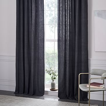 Textured Cotton Jacquard Curtain - Slate #westelm