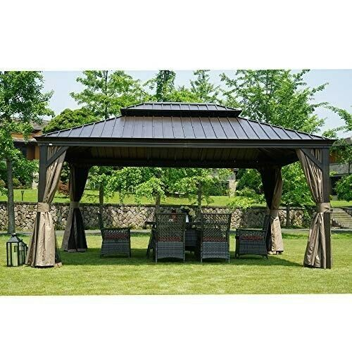 Permanent Gazebo Hardtop Aluminum Frame 12 X 16 Outdoor Patio Mosquito Netting Kozyardalexander Permanent Gazebo Gazebo Outdoor Patio