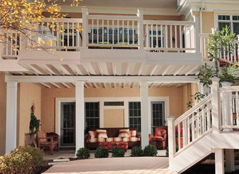 Decks patio and side wall on pinterest for 2 story decks and patios
