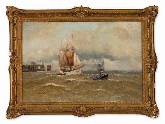 Alfred Jensen (1859-1935), Segelschiff mit Schlepper, um 1900