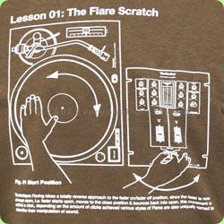 The Flare Scratch was invented by DJ Flare back in 1991, though developed further by DJ Q-Bert. It involves a combo of moving the record around the turntable with your hand with a quick execution of the cross-fader.    But you donÆt need me to explain it to you. Just wear this t-shirt and proceed to read yourself. If you have any trouble reading upside-down or backwards in a mirror, then simply apply a nearby friend who can reveal the instructions to you.    DMC have combined with Technics…